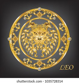 Zodiac Leo Golden frame with vintage Victorian metal Leaves and diamonds on black background, vector, illustration