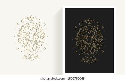 Zodiac leo horoscope sign line art silhouette design vector illustration. Creative decorative elegant linear astrology zodiac leo emblem template for logo or poster decoration.