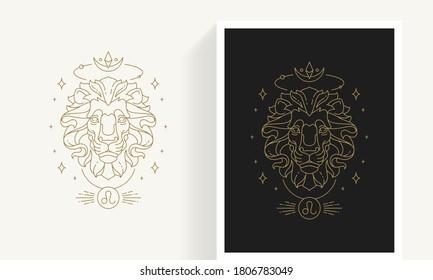 Zodiac leo horoscope sign line art silhouette design vector illustration. Creative decorative elegant linear astrology zodiac leo emblem template for logo or poster decoration.
