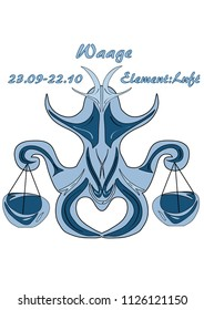 Zodiac Libra, with german text: Libra, date, element Air, vector graphics eps10