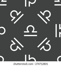 Zodiac Libra symbol repeated on grey background
