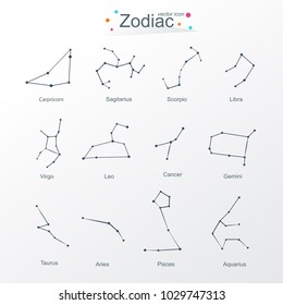 Zodiac modern flat Design. Horoscope set: Leo, Virgo, Scorpio, Libra, Aquarius, Sagitarius, Pisces, Capricorn, Taurus, Aries, Gemini, Cancer. Flat Vector illustration