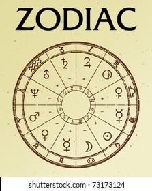 Zodiac on old paper