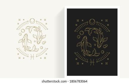 Zodiac pisces horoscope sign line art silhouette design vector illustration. Creative decorative elegant linear astrology zodiac pisces emblem template for logo or poster decoration.