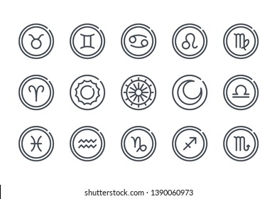Zodiac related line icon set. Astrology linear icons. Horoscope outline vector signs and symbols collection.