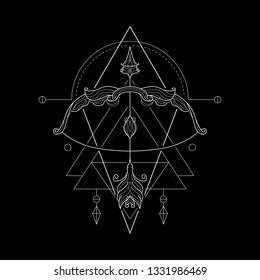 Zodiac Sagittarius geometric Style for merchandise or apparel design