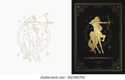 Zodiac sagittarius girl horoscope sign line art silhouette design vector illustration. Golden symbol for feminine astrology card template or poster.