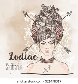 Zodiac: Sagittarius zodiac sign as a beautiful girl. Vector zodiac illustration. Vintage boho style fashion illustration. Design for zodiac coloring book page for adults and kids.