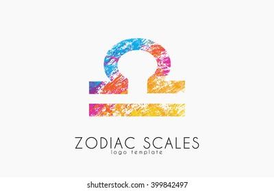 Zodiac scales logo. Scales symbol design. Creative logo
