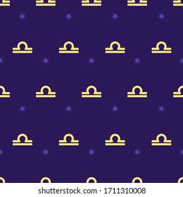 Zodiac seamless gold pattern. Repeating libra sign with stars on the purple background. Vector horoscope symbol