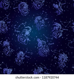Zodiac. Seamless pattern. Girls. Vector illustration . constellation