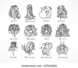 Zodiac set. Astrological sign. Vector illustration of a chibi character. Horoscope symbols: manga and anime style. Isolated on white. Design zodiac for coloring book page for adults and kids.