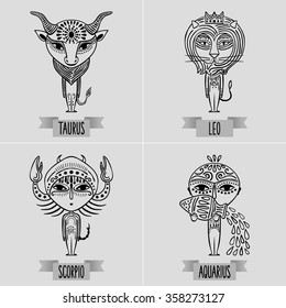 zodiac set of fixed signs - decorative minimalist drawing of taurus, leo, scorpio, aquarius