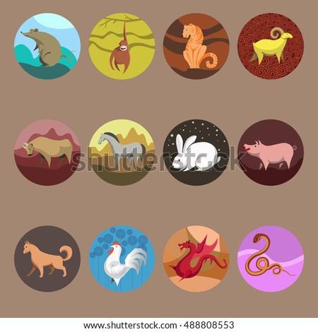 9de67cc9d zodiac Set icons of zodiac animals for horoscope design. Chinese horoscope:  Rat, Ox, Tiger, Rabbit, Dragon, Snake, Horse, Goat, Monkey, Rooster, Dog,  Pig.