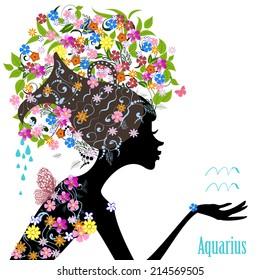 Zodiac sign aquarius. fashion girl