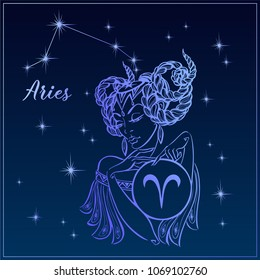 Zodiac sign Aries as a beautiful girl. The Constellation Of Aries. Night sky.  Horoscope. Astrology. Victor