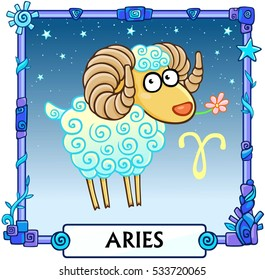 Zodiac sign Aries. Fantastic animation animal. A background - the star sky, a decorative frame. Vector illustration.