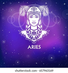 Zodiac sign Aries.  Fantastic princess, animation portrait. White drawing, background - the night stellar sky. Vector illustration.