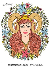 Zodiac sign Aries woman. Hand drawn detailed illustration. Astrology symbol as female portrait. Line art, perfect for poster, print, tattoo design, postcard, coloring book.