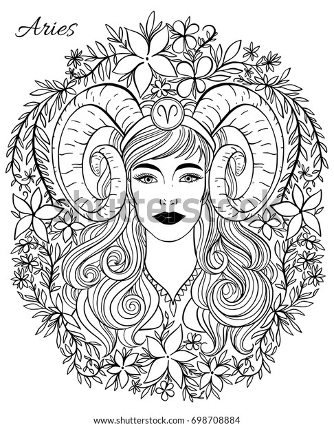 Zodiac Sign Aries Woman Hand Drawn Stock Vector (Royalty