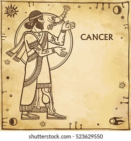 Zodiac sign Cancer. Drawing based on motives of Sumerian art. Full growth. Background - imitation of old paper, space symbols. The place for the text. Vector illustration.