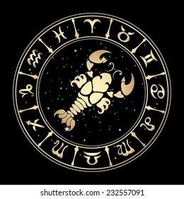 zodiac sign Cancer on a black background , vector illustration