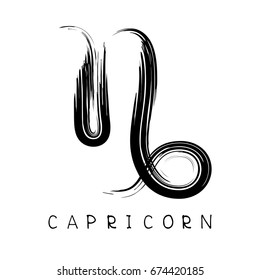 Zodiac sign Capricorn isolated on bright polygonal background. Design element for badges and stickers.