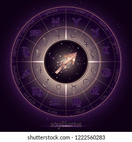 Zodiac sign and constellation SAGITTARIUS with Horoscope circle on the starry night sky background with geometry pattern. Sacred symbols and pictograms astrology planets in mystical circle. Vector.