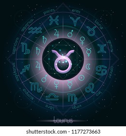 Zodiac sign and constellation TAURUS  with Horoscope circle on the starry night sky background with geometry pattern. Sacred symbols and pictograms astrology planets in mystical circle.  Vector.