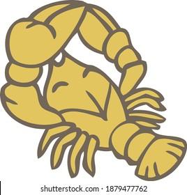 zodiac sign crayfish arthropod animal on white background illustration