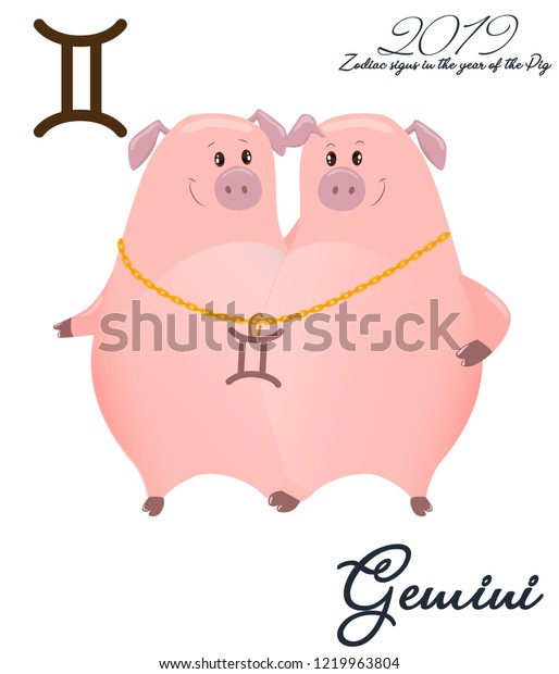 c5c20c914 Zodiac sign Gemini. 2019 year of the pig. Two piglets twins. Funny horoscope