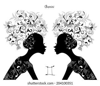Zodiac sign gemini. fashion girl