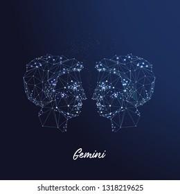 Zodiac sign Gemini. The symbol of the astrological horoscope.