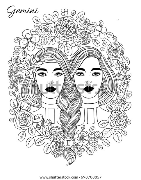 Zodiac Sign Gemini Woman Hand Drawn Stock Vector (Royalty