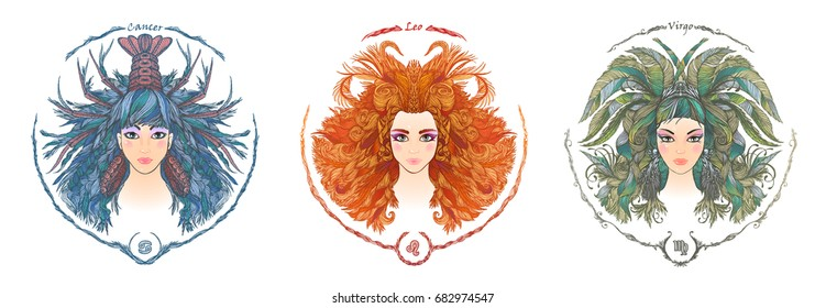 Zodiac sign. Hand drawn portrait of a beautiful woman. Vector illustration of Cancer, Leo, Virgo zodiac sign.