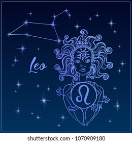 Zodiac sign Leo a beautiful girl. The Constellation of Leo. Night sky.  Horoscope. Astrology. Victor