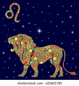 Zodiac sign Leo with colorful flowers fill in warm hues on a background of the blue starry sky, vector illustration