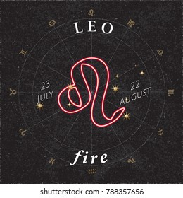 Zodiac Sign Leo Inverted Logo and Fire Lettering with Leo Constellation Stars and Dates in Zodiac Circle - Gold and White Elements on Black Rough Paper Background - Vector Mixed Graphic Design