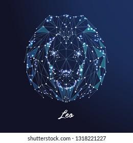 Zodiac sign Leo. The symbol of the astrological horoscope. Polygonal illustration
