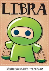 Zodiac sign Libra with cute black ninja character, vector