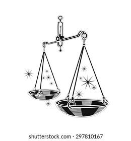 Zodiac sign - Libra. Vector illustration. Black silhouette, white background