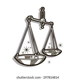 Zodiac sign - Libra. Vector illustration. Black lines, gray shadow, white background