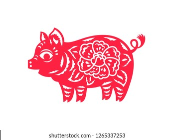 Сhinese Zodiac sign, paper cut boar isolated on white. Chinese New Year 2019 Pig. Vector illustration