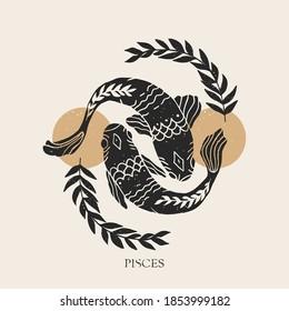Zodiac sign Pisces in boho style. Trendy vector illustration.
