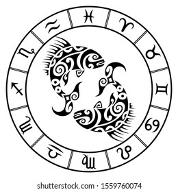 Zodiac sign pisces and circle constellations in maori tattoo style. Fishes black and white vector illustration isolated