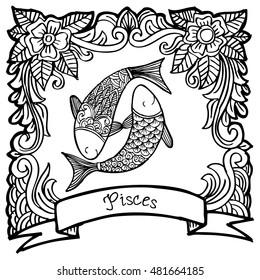 Zodiac sign Pisces. Decorative style.