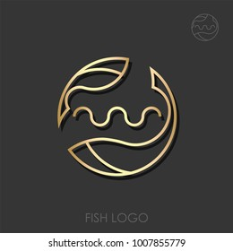 Zodiac Sign Pisces Fish Flat Designed Logotype Vector Logo