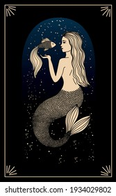 Zodiac sign Pisces. Silhouette of the astrological sign of gold color on a dark background. Magical illustration of a mermaid. Mermaid with a fish. Mythical drawing. Starry sky. Blue glow