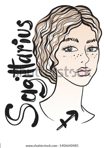 Zodiac Sign Sagittarius Beautiful Elegant Young Stock Vector