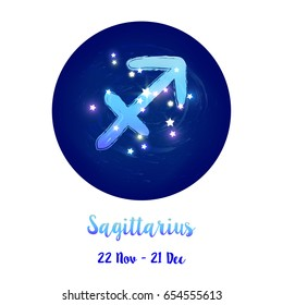 Zodiac sign Sagittarius in cosmic stars space with Sagittarius constellation icon. Starry night sky in circle background. Galaxy space vector design for horoscope icon, cards, posters, fortune telling